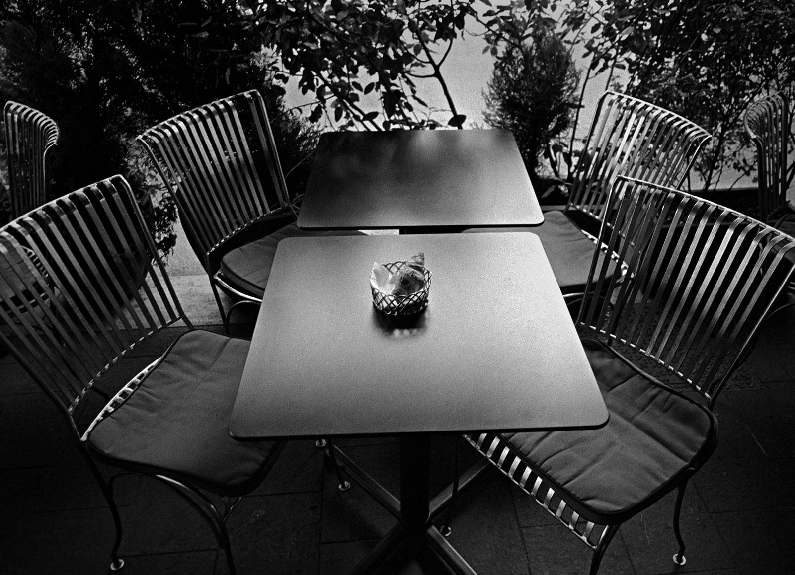 Croissant awaits coffee